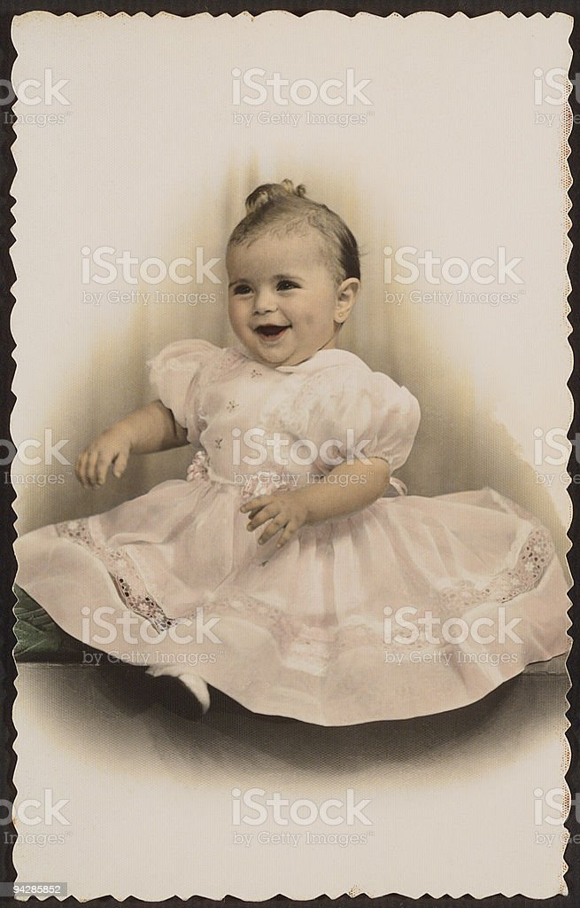 Antique photo of girl in nice dress 2 royalty-free stock photo