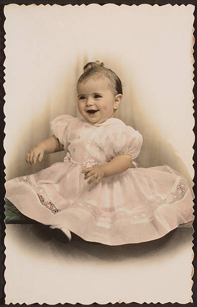 Antique photo of girl in nice dress 2 stock photo
