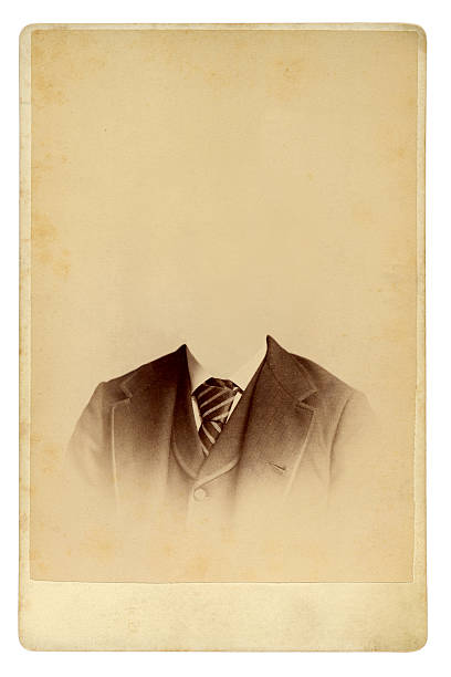 Antique photo of man in gradually fading suit with no head Antique portrait edwardian style stock pictures, royalty-free photos & images