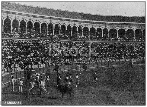 Antique photo of World's landmarks (circa 1894): Bullfight, Seville, Spain