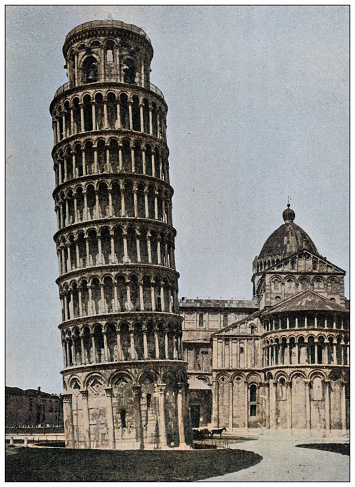 Antique photo of World's landmarks (circa 1894): Cathedral and leaning tower of Pisa, Italy