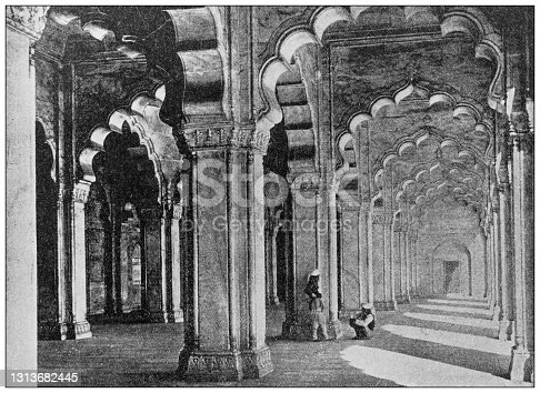 Antique photo of World's landmarks (circa 1894): Pearl Mosque, Agra, India