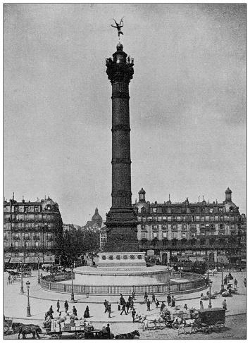 Antique photo of World's landmarks (circa 1894): Place de la Bastille, Paris, France