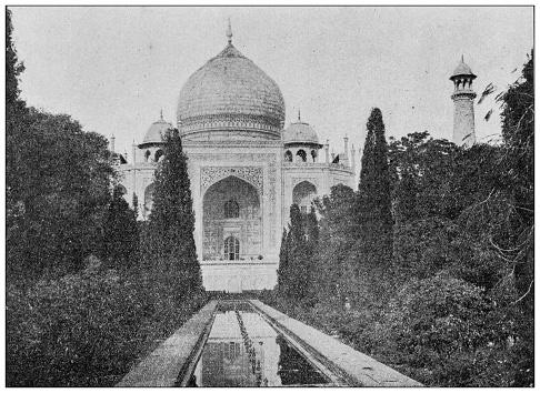 Antique photo of World's landmarks (circa 1894): Taj Mahal, Agra, India