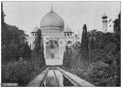 Antique photo of World's landmarks (circa 1894): Taj Mahal, Agra, India