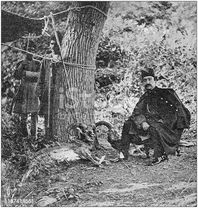 Antique photo: Persian Sha Naser al-Din Shah Qajar hunting