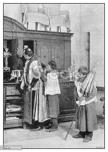 Antique photo: Priest and altar boys