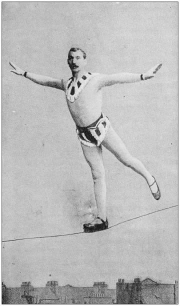 Antique photo: Rope walker acrobat stock photo
