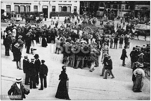 Antique photo: Street demonstration in France