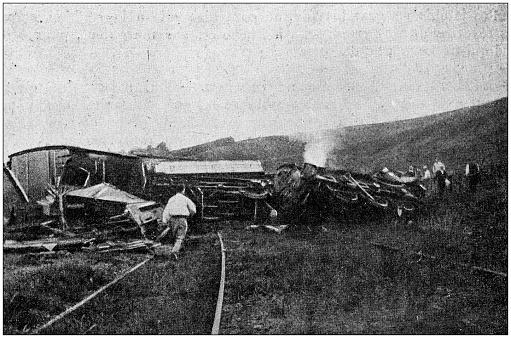 Antique photo: Train crash disaster