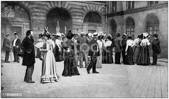 Antique photo: Waiting outside conservatoire