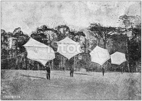 Antique photo: War kites