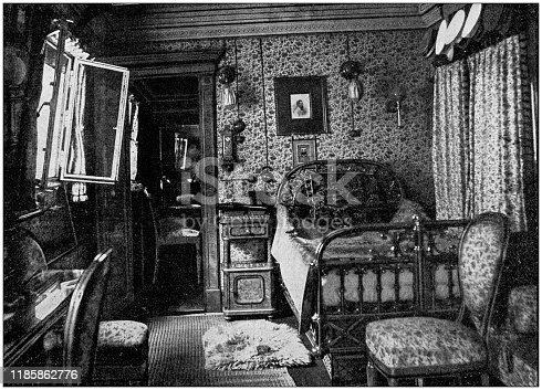 Antique photo: Wilhelm II room in ship