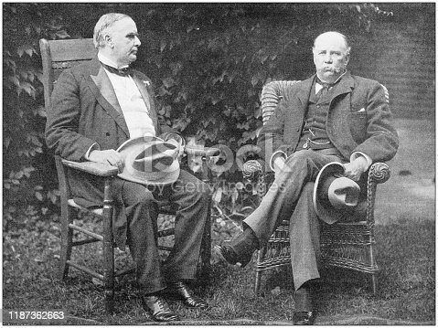 Antique photo: William McKinley (President of USA) and Garret Hobart (Vice president)