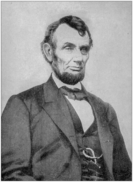 Antique photograph: Abraham Lincoln stock photo