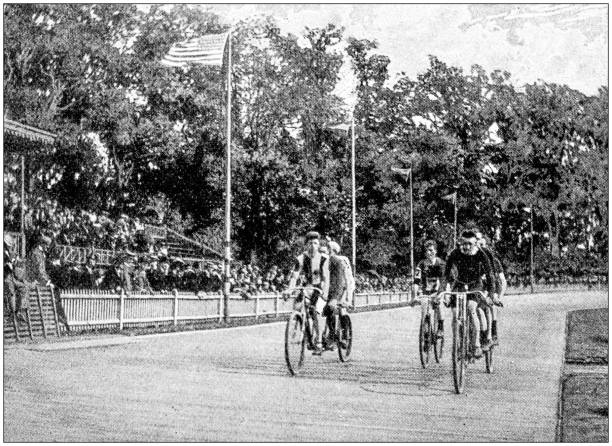 Antique photograph: Bicycle race Antique photograph: Bicycle race 1890 stock pictures, royalty-free photos & images