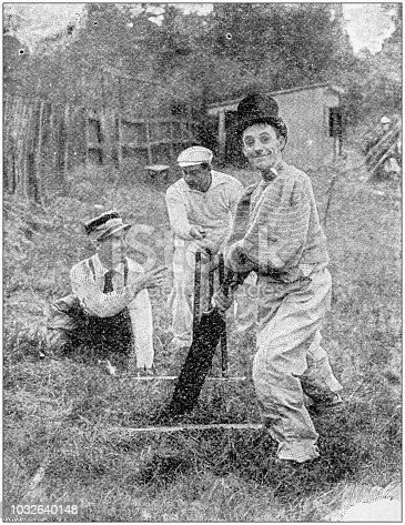 Antique photograph: Bizarre cricket match