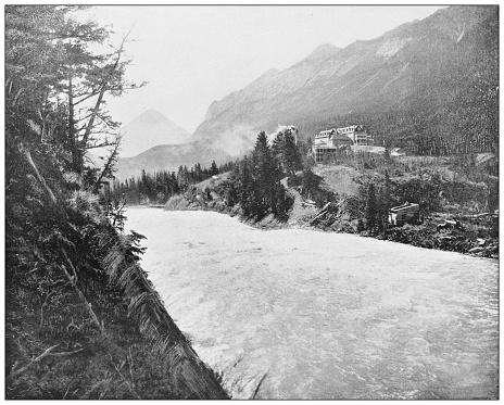 Antique photograph: Bow River Rapids, Banff, Northwest Territories