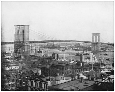 Antique photograph: Brooklyn Bridge, New York