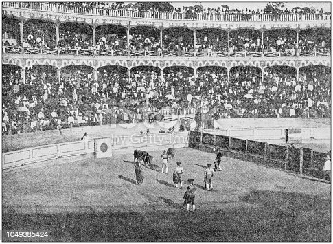 Antique photograph: Bull Fight, Mexico city, Mexico