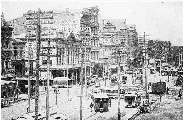 Antique photograph: Canal Street, New Orleans, USA Antique photograph: Canal Street, New Orleans, USA 20th century history stock pictures, royalty-free photos & images