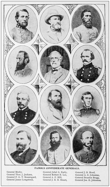 Antique photograph: Confederate Generals Antique photograph: Confederate Generals american civil war stock pictures, royalty-free photos & images