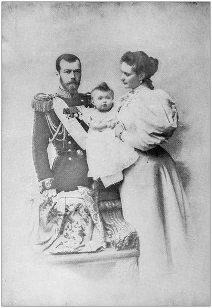 Antique photograph: Czar Nicholas II and Family Antique photograph: Czar Nicholas II and Family 1900 stock pictures, royalty-free photos & images