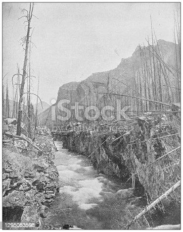 Antique photograph: Devil's Gorge, Banff, Northwest Territories, Canada