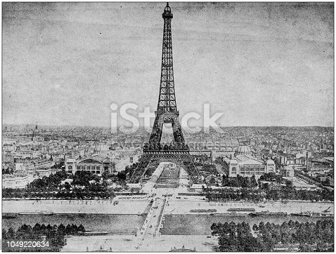 Antique photograph: Eiffel Tower, Paris, France