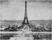 Antique photograph: Eiffel Tower, Paris, France