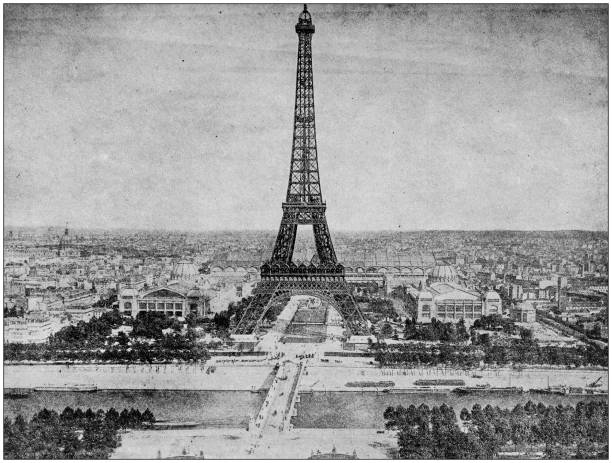 Antique photograph: Eiffel Tower, Paris, France Antique photograph: Eiffel Tower, Paris, France 20th century history stock pictures, royalty-free photos & images
