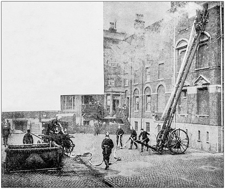 Antique photograph: Firemen fire brigade training