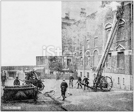 Antique photograph: Firemen fire brigade training