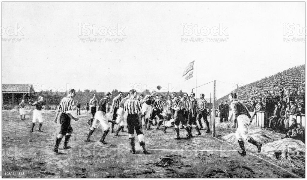 Antique photograph: Football match stock photo