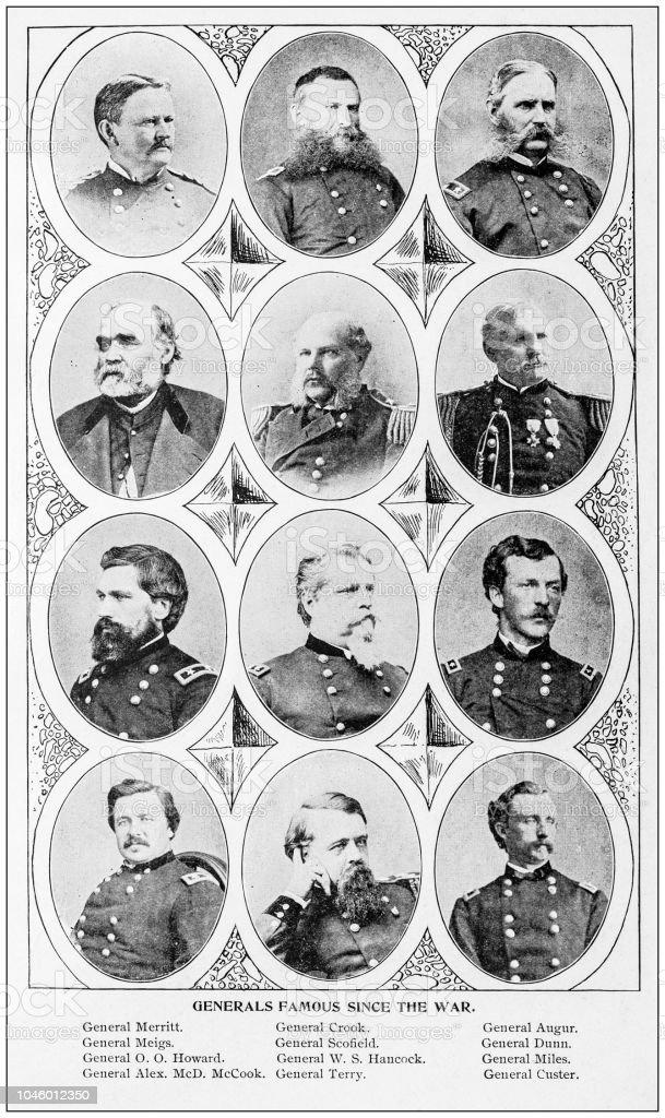 Antique photograph: Generals stock photo