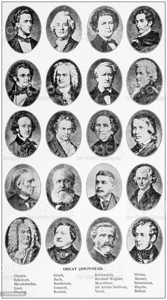 Antique photograph: Great Composers stock photo