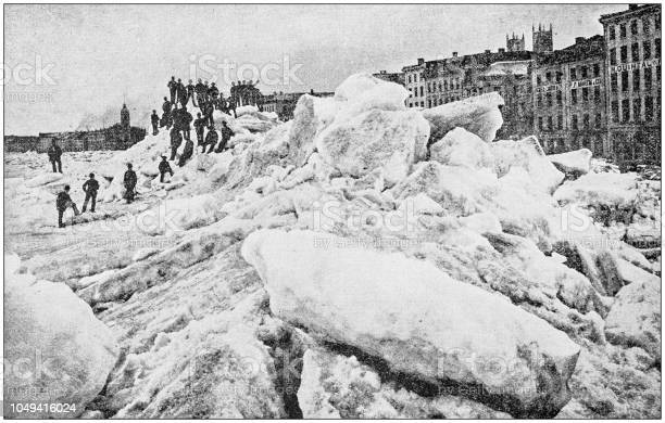 Antique photograph: Ice in Montreal, Canada