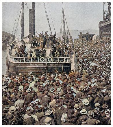 Antique photograph: Klondike gold rush, Ship full of miners leaving Vancouver