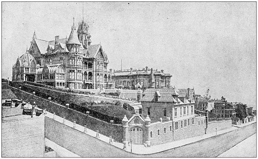 Antique photograph: Mark Hopkins' Mansion, San Francisco, USA