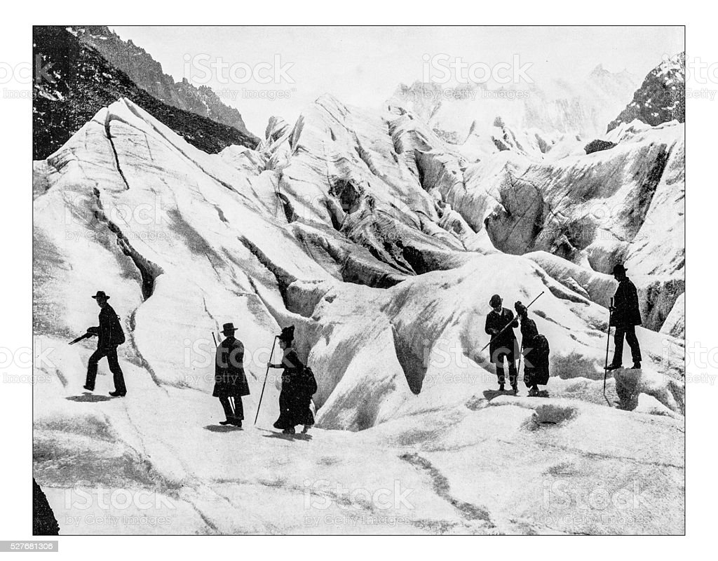 Antique photograph of 19th century mountaineer at Eismeer-Jungfraujoch (Switzerland) stock photo