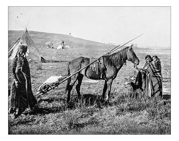 alte foto des 19. jahrhunderts native amerikanische familie - weidentipi stock-fotos und bilder