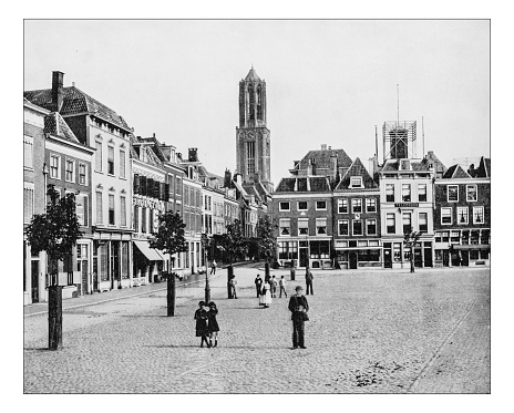Antique photograph of a square in Utrecht (Netherlands)-19th century