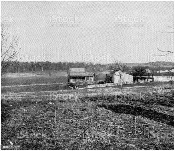 Antique photograph of Abraham Lincoln early life: Lincoln Farm in Indiana