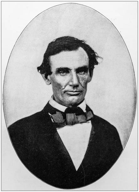 Antique photograph of Abraham Lincoln early life: Portrait, 1858 stock photo