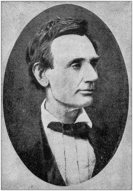 Antique photograph of Abraham Lincoln early life: Portrait, 1860 stock photo