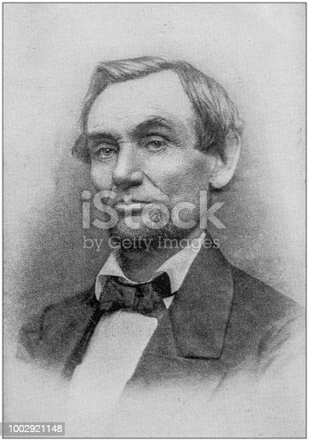 Antique photograph of Abraham Lincoln early life: Portrait, 1861