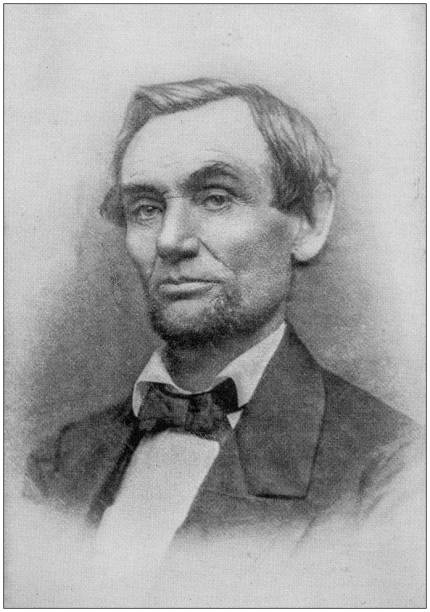 Antique photograph of Abraham Lincoln early life: Portrait, 1861 stock photo