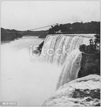Antique photograph of America's famous landscapes: American Falls, Goat Island
