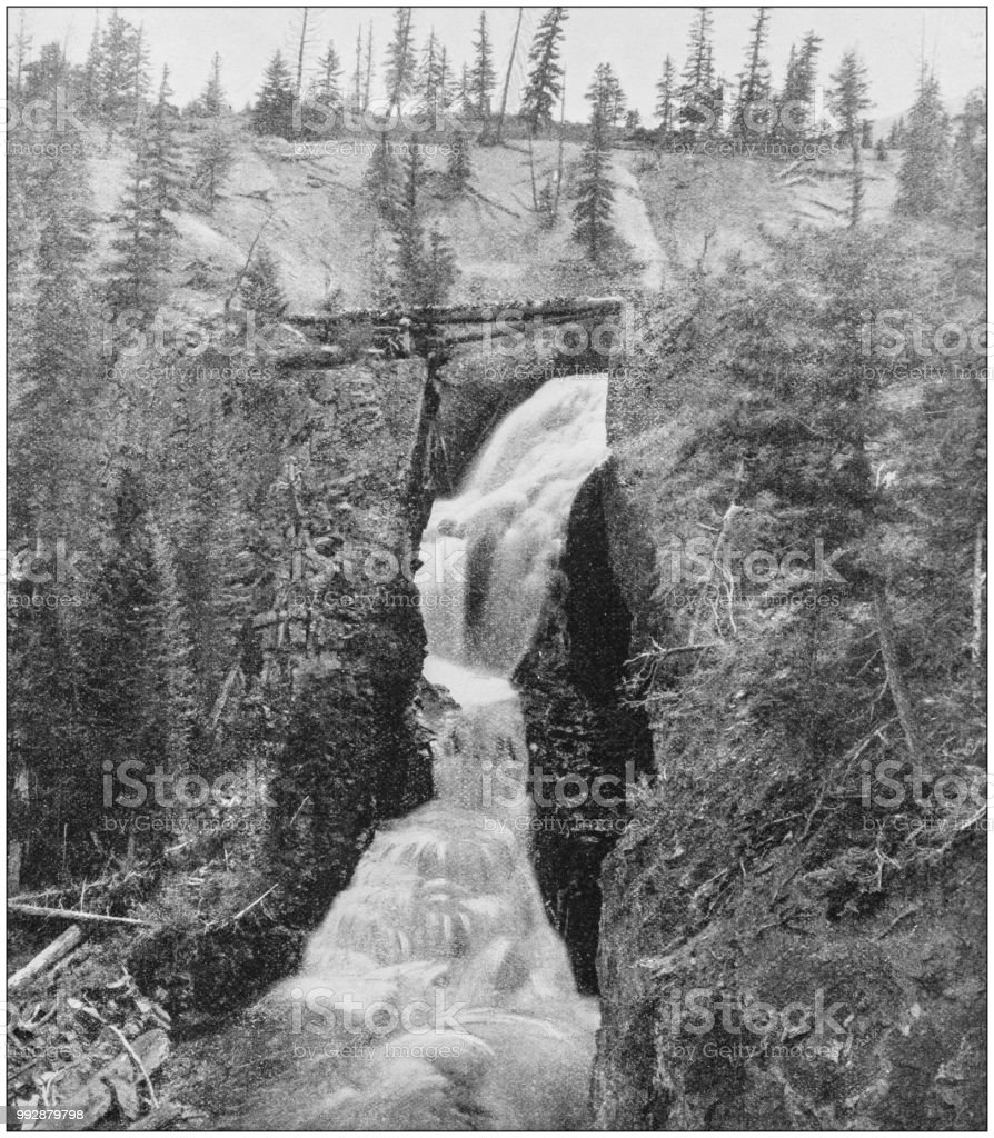 Antique photograph of America's famous landscapes: Argenta Falls stock photo