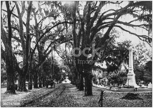 Antique photograph of America's famous landscapes: Bonaventure Cemetery, Savannah, Georgia